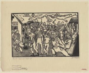 Život v sanitní koloně. Předloha k ilustraci z knihy Malíř na frontě, 1929, hedvábný papír, dřevoryt.
