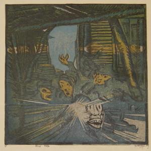 Plná trefa, 1919. Z grafického cyklu Fronta, papír, barevný dřevoryt.