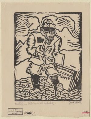Malíř hřbitovních tabulek. Předloha k ilustraci z knihy Malíř na frontě, 1929, papír, dřevoryt.