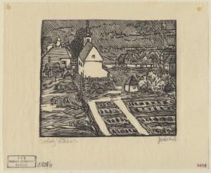 Sočský hřbitov. Předloha k ilustraci z knihy Malíř na frontě, 1929, hedvábný papír, dřevoryt.