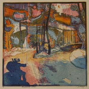 Maskovaná silnice, 1919. Z grafického cyklu Fronta, papír, barevný dřevoryt.