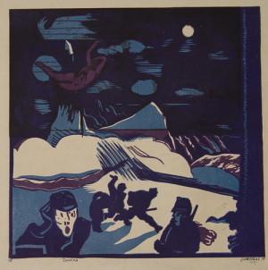 Lavina, 1919. Z grafického cyklu Fronta, papír, barevný dřevoryt.