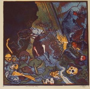Rombonská strž, 1919. Z grafického cyklu Fronta, papír, barevný dřevoryt.