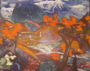 Soča, 1919, papír, barevný dřevoryt.