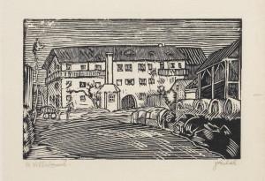 Ve Villabruně. Předloha k ilustraci z knihy Malíř na frontě, 1929, hedvábný papír, dřevoryt.