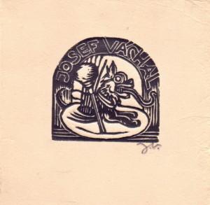 Josef Váchal, Ex libris. Předloha k ilustraci z knihy Malíř na frontě, 1929, hedvábný papír, dřevoryt.