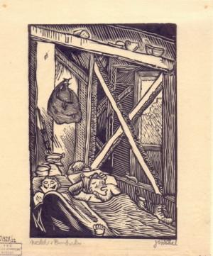 Nocleh v Rumburku. Předloha k ilustraci z knihy Malíř na frontě, 1929, hedvábný papír, dřevoryt.