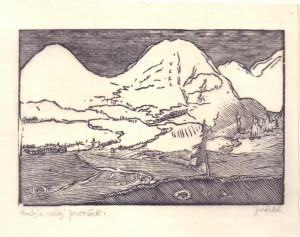 Malý a Velký Javorček. Předloha k ilustraci z knihy Malíř na frontě, 1929, hedvábný papír, dřevoryt.