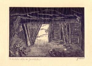 U druhého děla na Javorčeku. Předloha k ilustraci z knihy Malíř na frontě, 1929, hedvábný papír, dřevoryt.