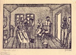 V operační síni. Předloha k ilustraci z knihy Malíř na frontě, 1929, hedvábný papír, dřevoryt.