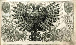 Rytá titulní strana s habsburskou orlicí, která ve svých pařátech třímá turecké bojovníky.