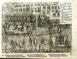 Poprava Georga svobodného pána Paradeisera za zradu při obléhání pevnosti Velká Kaniža roku 1601.