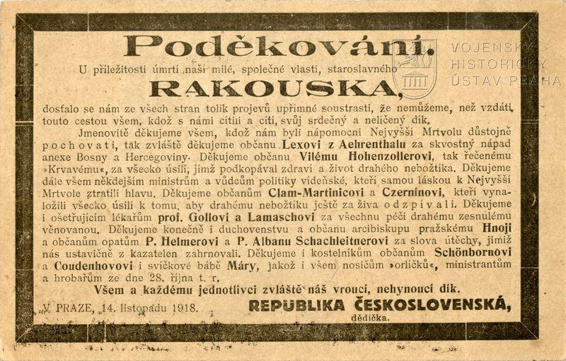 Humorné oznámení o zániku Rakouska-Uherska