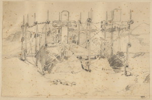 František Parolek: Mohyla padlých bratří u Zborova, červenec 1917, papír, tužka, 22x14,5 cm. FOTO: VHÚ