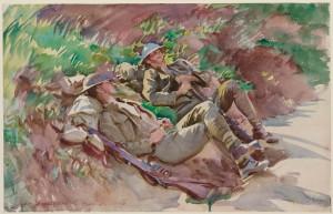 John Singer Sargent: Poperinghe: Dva vojáci; akvarel na papíře, 1918. Vznikl pravděpodobně podle fotografie, na níž byli zachyceni dva vojáci ležící v kupce sena a kterou mu spolu s řadou válečných snímků věnovalo Ministerstvo informací před malířovým odjezdem do Francie v roce 1918.  FOTO: Museum of Fine Arts, Boston