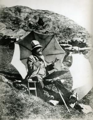 J. S. Sargent na snímku neznámého autora maluje jeden ze svých akvarelů v Simplonském průsmyku, 1910–1911. FOTO: Sargent Archive, Museum of Fine Arts, Boston