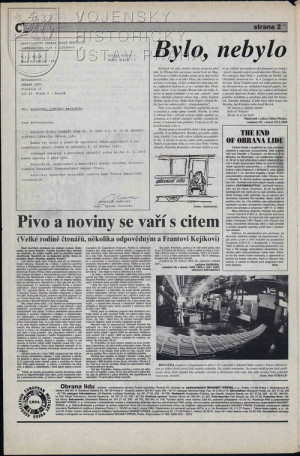 Druhá strana č. 12 s kopií rozhodnutí tehdejšího ministra obrany ČR Antonína Baudyše o zastavení vydávání Obrany lidu.