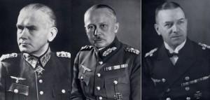 Zleva: Generál polní maršál Werner von Blomberg, říšský ministr války, Generál svobodný pán Werner von Fritsch, vrchní velitel pozemního vojska, Admirál Erich Raeder, vrchní velitel válečného námořnictva. Foto sbírka VHÚ.