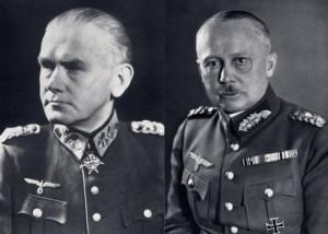 Zleva: Generál polní maršál Werner von Blomberg, říšský ministr války, Generál svobodný pán Werner von Fritsch, vrchní velitel pozemního vojska.