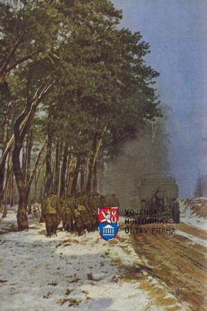 Střelecká četa a divizní dělostřelectvo za přesunu do bojového postavení