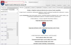 Domovská stránka Digitální studovny Ministerstva obrany ČR se zvýrazněným vyhledávacím polem FOTO: VHÚ Praha