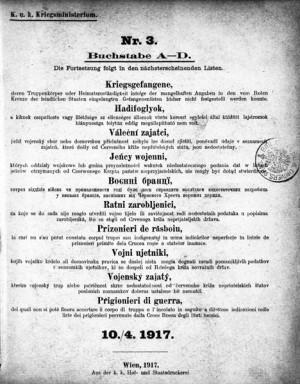 Váleční zajatci – titulní list k seznamům zajatců, jejichž příslušnost k vojskovému tělesu či domovskou příslušnost nebylo možné zjistit. FOTO: VHÚ Praha