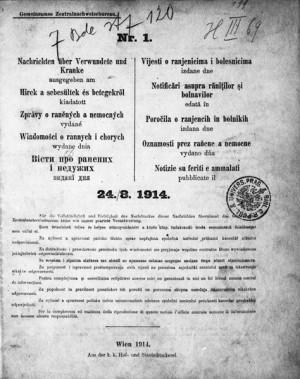 Zprávy o raněných a nemocných – titulní list prvního čísla z počátku války FOTO: VHÚ Praha