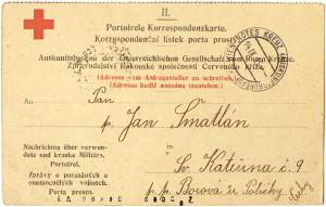 Druhá část dvojitého korespondenčního lístku, kterou Informační kancelář Rakouské společnosti Červeného kříže ve Vídni zaslala tazateli nazpět s odpovědí na jeho dotaz. (Originál archiválie je uložen v Památníku národního písemnictví – literární archiv) FOTO: VHÚ Praha