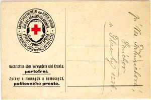 Dopisnice užívaná Poptavárnou po válečných zajatcích, raněných a nezvěstných při Zemském pomocném spolku Červeného kříže pro Království české FOTO: NA Praha