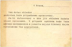 Rub téhož korespondenčního lístku s předtištěnou zprávou FOTO: NA Praha