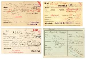 Typy kartotéčních lístků s údaji o zajatých vojácích z českých zemí, jak je ve své kartotéce během války shromažďovala pražská kancelář. Poválečné osudy této obsáhlé kartotéky se značným badatelským potenciálem se dosud nepodařilo dopátrat. FOTO: NA Praha