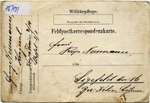 Speciální dopisnice polní pošty, jejímž prostřednictvím zdravotnická zařízení poskytovala rodinným příslušníkům první rychlou zprávu o hospitalizaci vojáka a jeho zdravotním stavu. FOTO: VHÚ Praha
