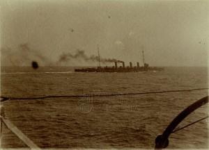 Rakousko-uherský lehký křižník Admiral Spaun na manévrech