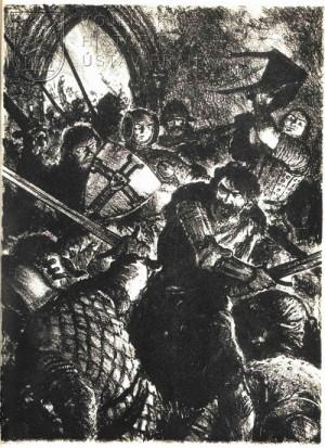 Černobílá ilustrace, kterou vytvořil Gustav Krum.