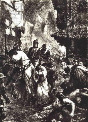 Jedna ze dvanácti výpravných ilustrací románu Křižáci.