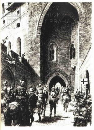 Černobílá ilustrace vjezdu do hlavního sídla Řádu – hradu Malborku.