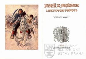 Titulní list a na něm Husitská pavéza reprodukovaná na obálce Jiráskovy knihy Proti všem.