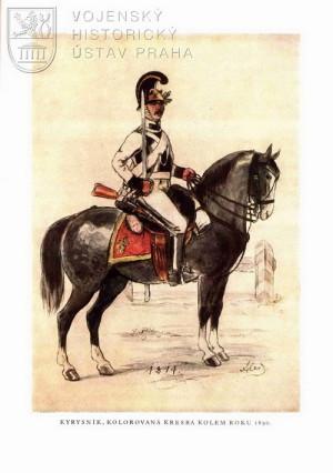 Kolorovaná kresba Mikoláše Alše vzniklá kolem roku 1890 zobrazující kyrysníka.