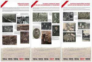 Ukázkové náhledy úvodních panelů výstavy 1917 – zlomový rok československého odboje