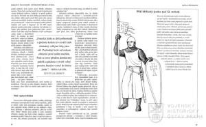 Kresba a citace z kroniky doplňující kapitolu o roli pěchoty.