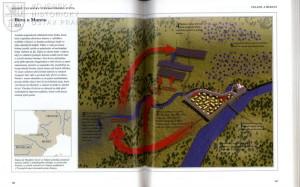 Vybrané aspekty středověkého vojenství ilustrují taktické plánky významných bitev.