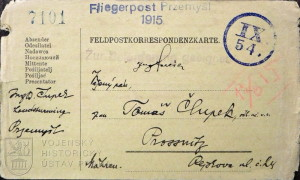 Dopisnice letecké pošty z obležené pevnosti Přemyšl