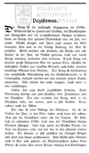 Začátek VI. kapitoly Pazifismus.