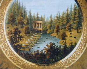Ručně malovaný talíř s motivem lovu na kance v oboře, kolem 1800. Podle tradice byla autorkou malby kněžna Pavlína Schwarzenbergová (rozená vévodkyně z Ahrenbergu), od roku 1794 manželka knížete Josefa Schwarzenberga, která zahynula 1. července 1810 při požáru na zahradě rakouského velvyslanectví v Paříži na plese u příležitosti zasnoubení císaře Napoleona s arcikněžnou Marií Louisou. FOTO: Jan Šach