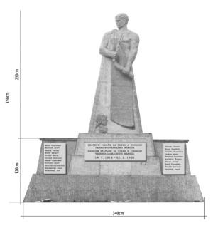 Návrh zjednodušené repliky pomníku od akademického malíře Pavla Holého z Vojenského historického ústavu Praha z roku 2015.  Foto: VHÚ