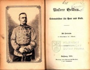 Titulní list celého konvolutu a frontispis s portrétem arcivévody Albrechta Rakousko-Těšínského.