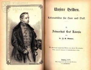 Titulní list a frontispis druhého svazečku s portrétem polního maršála Josefa Václava hraběte Radeckého z Radče.