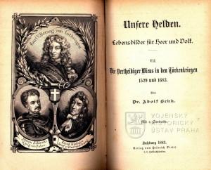 Titulní list a frontispis sedmého svazečku s trojportrétem polního maršála Karla V. vévody Lotrinského, polského krále Jana III. Sobieského a polního maršála Ernesta Rüdigera hraběte Starhemberga.