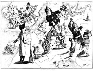 Karikatura uklízení Evropy z roku 1849