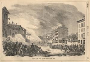 Povstání v Miláně, boje o bránu Porta Tosa (dnes Porta Vittoria) 22. března 1848.